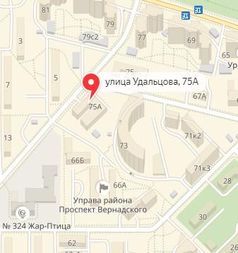 Удальцова, 75А (Проспект Вернадского) - Адрес клиники сети Айболит Плюс на карте